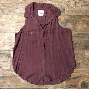Mudd mauve button up western blouse